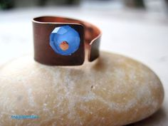 """Ring """"Blue"""" : copper, crystal"""