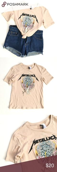 "metallica band tee Graphic band tee - Metallica - from H&M. Tan/blush color. Excellent condition. Size XS. Armpit to armpit: 17"" Length: 21"" [o] H&M Tops Tees - Short Sleeve"