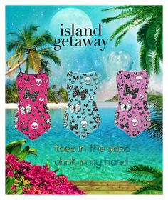 Island Gataway featuring printed swimsuits by farrellart on Polyvore Super Sexy Printed Swimsuits for Fun in the Sun