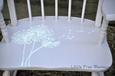 Kids rocking chair makeover - dandelions in the wind