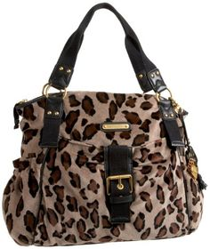 $228.00 Juicy Couture, Velour Tote, Heather Leopard - This roomy velour tote uses leopard print -- a secret style weapon of the world's fashionistas -- to full effect. Plus all the Juicy details you love, like magnetic buckle closure, hanging charm and signature heart tag with jewel-encrusted J-pull. Double exterior pockets. JC plaque http://www.amazon.com/dp/B0058NCZL6/?tag=pin0ce-20