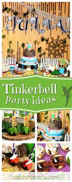 Don't miss this magical Tinkerbell Fairies and Pirates birthday party! The Tinkerbell cake pops are so cute!! See more party ideas and share yours at CatchMyParty.com  #partyideas #tinkerbell #fairy #peterpan #girlbirthday