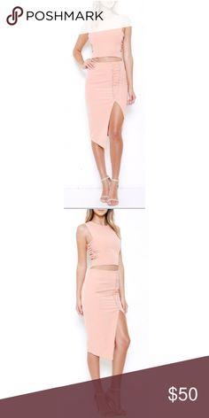 Peach Lace Set Peach Lace on a side set Skirts Skirt Sets