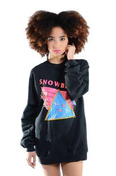 "1980-1990's amazingly cozy vibrant neon Snowbirds print sweatshirt.  Chest-42"", Length-29"" - 24.00 dollars"