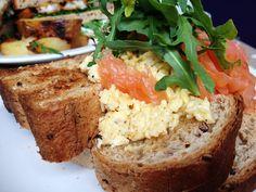 [UK] Homemade - Nottingham - Posh Pants Brekkie - Smoked salmon and scrambled eggs on chunky toast