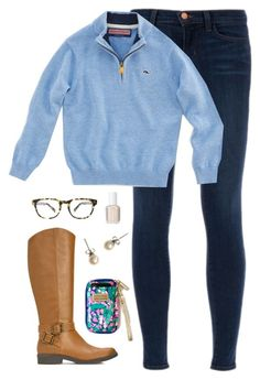 """vineyard vines pullover"" by classically-preppy ❤ liked on Polyvore featuring J Brand, Vineyard Vines, J.Crew, Essie and Warby Parker"