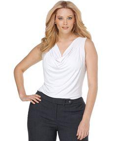 Calvin Klein Plus Size Top, Sleeveless Cowl Neck Cami
