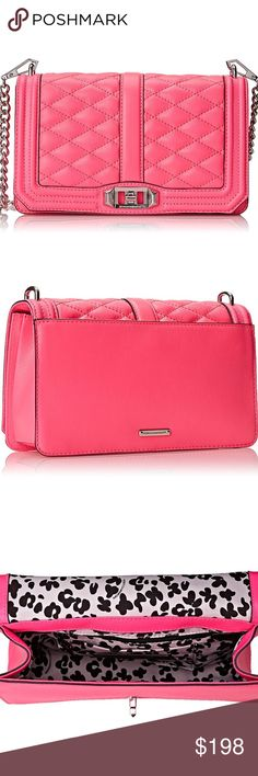 NEW Rebecca Minkoff Love Crossbody A Rebecca Minkoff cross-body bag in quilted leather. A slim pocket outfits the back, and a turn-lock opens the top flap. Lined, 2-pocket interior. Polished hardware. Optional shoulder strap.  Color is Electric pink. Rebecca Minkoff Bags Crossbody Bags