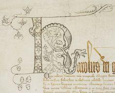 Charte de Charles V pour la Sainte-Chapelle de Paris Précision de la vue : détail lettrine K Archives nationales, K//49/A/21 © Archives nationales, France