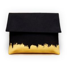 black and gold hand painted clutch