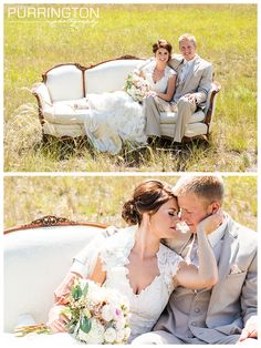 Love that this bride rented a vintage white couch chair prop for her reception and pictures from On Solid Ground Vintage Rentals  It fit the shabby chic theme perfectly and added such romance!  © Purrington Photography Bemidji Wedding Photographer