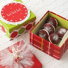 Festive Holiday Box. So perfect for Christmas gifting, our Red Velvet Whoopie Pies have a delightful peppermint and cream cheese filling. Add them to a holiday-pattern printed box lined with waxed paper. Using crafts glue, embellish the box top with tulle and ribbon, or layer on flattened paper bake cups, a holiday coaster, and rhinestones.