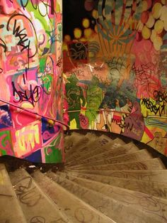 Graffiti in Paris Metro stairway