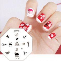 Christmas-Santa-Design-Nail-Art-Stamp-Stamping-Template-Plate-Scraper