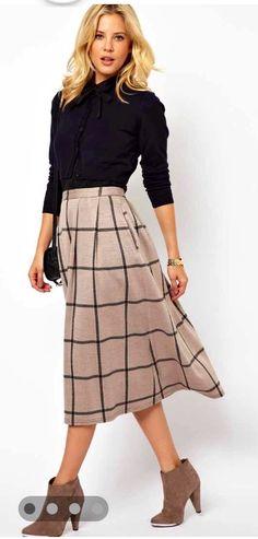 a32857e7ab141 Asos Full Midi Skirt in Squared Check Print - Black - ShopStyle
