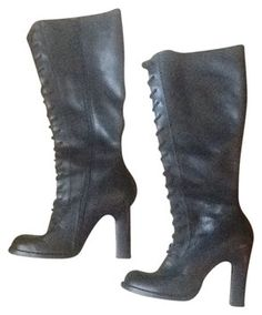 Steve Madden Clapton Lace Up Riding Granny Black Boots