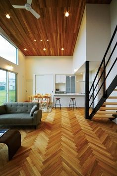 Interior and oak flooring are perfect match . Building Design, Building A House, Flooring For Stairs, Oak Flooring, Floors, Interior And Exterior, Interior Design, Natural Interior, Cool Rooms