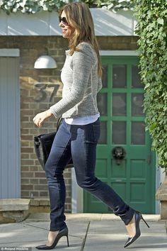 Elizabeth Hurley.. denim + tweed jacket + black heels + birkin.. simple elegance..