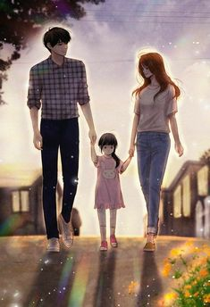 Family parenting illustration in 2019 anime love cou Love Cartoon Couple, Cute Love Cartoons, Anime Love Couple, Cute Couple Drawings, Cute Couple Art, Anime Couples Drawings, Anime Art Girl, Anime Guys, Cover Wattpad