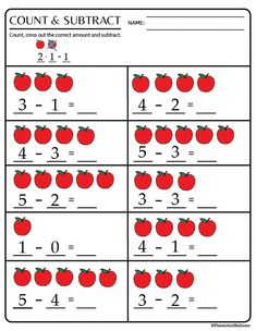 Kindergarten math worksheets pdf - perfect for kindergarten math centers! Addition worksheets, subtraction worksheets, tally marks, and more! Printable Preschool Worksheets, Kindergarten Math Activities, Free Kindergarten Worksheets, Preschool Math, Tracing Worksheets, Free Printable, Nursery Worksheets, Budgeting Worksheets, Grammar Worksheets