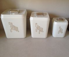 1950's Lustro Ware canisters. Picked up at a yard sale for $2. MCM