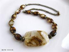 Safari Jasper Oval Beads, Glass Focal Bead, Antiqued Brass Chain, African Safari Beaded Necklace. $20.00, via Etsy.