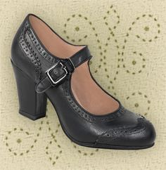Aris Allen Black 1940s Heeled Wingtip Mary Jane Swing Dance Shoe      secretary
