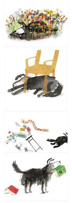 Time for Bed, Fred! by Yasmeen Ismail - Children's Books Illustrations. How fun! So clever. I appreciate the pleasure I get from these illustrations. Children's Book Illustration, Illustration Children, Watercolour Illustration, Animal Illustrations, Animation Portfolio, Guache, Children's Picture Books, Wow Art, Book Projects