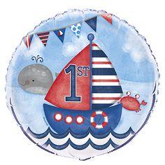18 inch Foil Nautical Boys First Birthday Balloon, White First Birthday Party Supplies, First Birthday Balloons, 1st Birthday Party Decorations, Party Themes For Boys, Baby Boy Birthday, Happy Birthday, Boy Birthday Parties, Its A Boy Balloons, Mylar Balloons