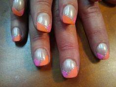 Pink and Orange Nail Art