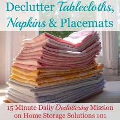 Declutter tablecloths, napkins and placemats 15 minute mission {part of the Declutter 365 missions on Home Storage Solutions 101}