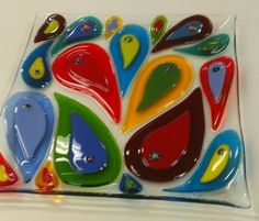 Fused glass plate -Paisley plate #1