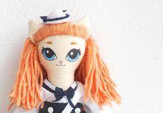 Amélie Sailor  Handmade kitty art doll  OOAK soft by jesuismimi