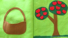 felt Apple Picking No Sew Quiet Book Page using velcro Craft Activities For Kids, Infant Activities, Indoor Activities, Summer Activities, Family Activities, Diy Quiet Books, Felt Quiet Books, Felt Busy Bag, Baby Sensory