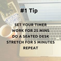 Something I have just started incorporating into my day is, setting the timer on my phone for 25 mins and focusing on work /goal, when the alarm goes off, I do a 5 min body stretch, while seated at my desk. You can easily find a routine on YouTube. Do this 4 times before taking a longer break of say 15mins - walk around, get moving. 〰 Benefits so far 〰 I feel so much more productive, less achy in my neck and shoulders and clearer in my head Work Goals, Body Stretches, Get Moving, Routine, Mindfulness, Desk, Times, Feelings, Phone