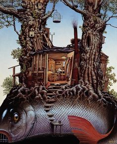 Jacek Yerka studied fine art and graphics prior to becoming a full-time artist in 1980. In 1995 he was awarded the prestigious World Fantasy Award for Best Artist, a testament to his growing status in the SF branch of art.