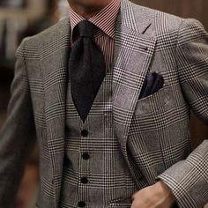 c6dd5c5f1bd5 Men's Grey Plaid Wool Blazer, Grey Plaid Wool Waistcoat, Red Vertical  Striped Dress Shirt