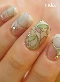 Stained glass nails♡