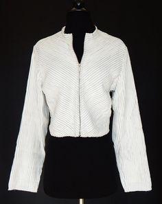ANDREA ROSATI White Leather Ribbon Design Zip Front Stretch Jacket Motorcycle L? #AndreaRosati #BasicJacket