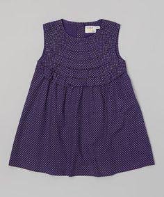 Look at this #zulilyfind! Purple Polka Dot Frill Dress - Infant, Toddler & Girls by Rim Zim Kids #zulilyfinds