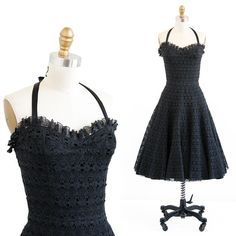 rococovintage:  This 1950s charcoal lace sundress is such a perfect piece for summer, and so easy to dress both up and down! Newly alighted in the shop.