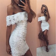 Our off-the-shoulder white lace dress is a great day and evening dress. Perfect…