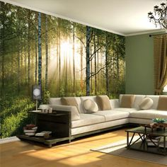 Forest Mural Wallpaper on Housing Units.had this in our eating room growing up! Forest Wallpaper, Wall Wallpaper, Sunrise Wallpaper, Photo Wallpaper, Perfect Wallpaper, Wallpaper Direct, Wallpaper Samples, Custom Wallpaper, Photowall Ideas