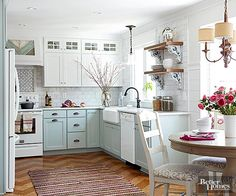 Kitchens--LOVE SO MUCH OF THIS! warm wood floor & shelves (but I cannot handle open shelves)