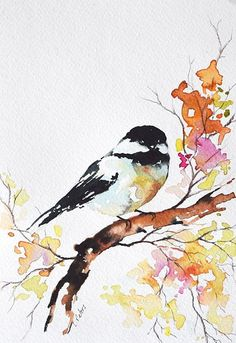 Original Watercolor Bird Painting Colorful Chickadee Bright