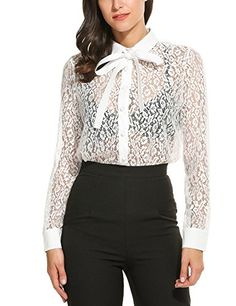 de1cafd6725b7c Zeagoo Womens Casual See Through Floral Lace Long Sleeve Shirt Tops White   gt  gt