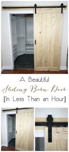 Installing a sliding barn door in your home has never been easier! We'll show you how easy it is in this quick DIY video! Installing a sliding barn door in your home has never been easier! We'll show you how easy it is in this quick DIY video! Diy Closet, House, Home Projects, Closet Bedroom, Home Remodeling, New Homes, Diy Barn Door, Diy Door, Home Diy