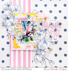 You - American Crafts - It's All Good Collection + Crate Paper - Sunny Days - Apple Blossom Scrapbook Page Layouts, My Scrapbook, Scrapbook Supplies, Scrapbooking Ideas, Digital Scrapbooking, Paper Bag Album, Smash Book Pages, Scrapbook Storage, Birthday Scrapbook