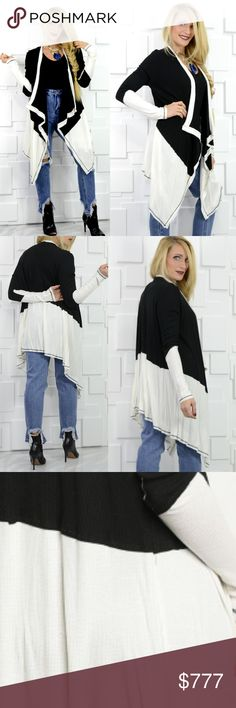Black & White waterfall front cardigan Brand New Boutique item Price is firm   In a hurry?? Grab this Long sleeve light weight ribbed cardigan on your way out the door! Easy to pair with jeans and a top on busy days for an instafab look! Featured classic Black and white color blocked with an trendy uneven hemline. A comfy, casual and fab cardgian! MADE IN USA Fabric Content: 96% RAYON 4% SPANDEX Model is wearing a size small . Sweaters Cardigans
