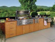 Wooden outdoor kitchen